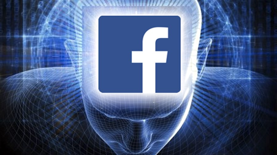 An image of a digital man with a facebook logo in place of his brain implying that Facebook's New AI is extremely powerful, like a persons brain