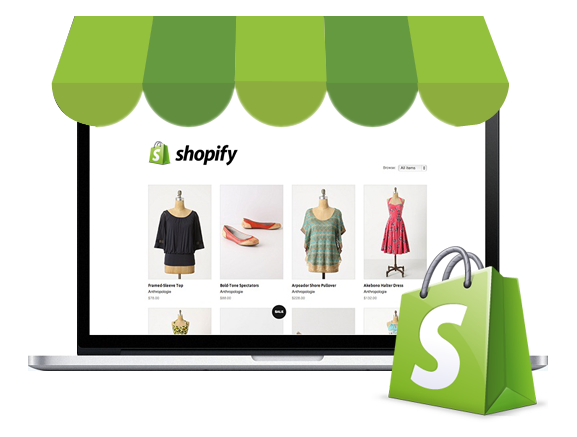 A neat picture of a computer displaying a shopify store. the computer is given the illusion of being a physical shop even though it is an eCommerce store.