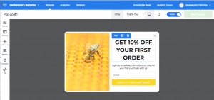 An example of a email sign up pop up we made using a marketing automation tool. We designed this for one of our customers BeeKeeper's Natural's
