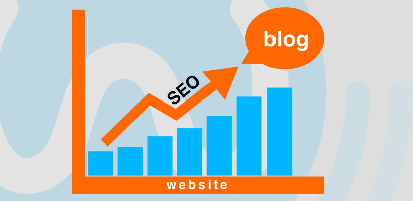A bar graph. the X axis is titled website, the Y axis shows viewers. An arrow above the bars displays an increase in SEO through blogging. SEO optimized blog posts will increase your ranking on Google